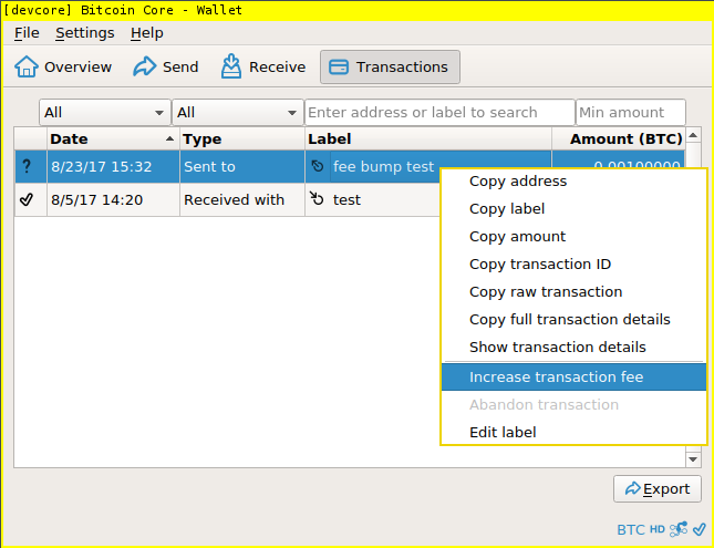 "Screenshot of ""increase transaction fee"" option on menu"