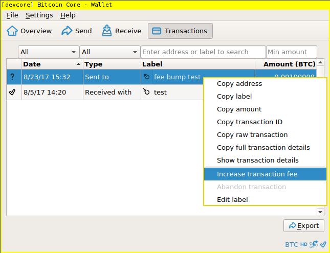 "Screenshot of ""increase transaction fee"" option on menu"